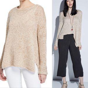 Neiman Marcus Oversized Crewneck Cotton Sweater
